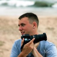 Beach Portrait of Photographer at Work