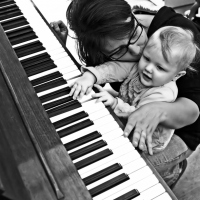 Mom and baby piano portrait