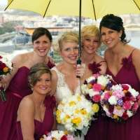 Bride and Bridesmaids on West End Overlook
