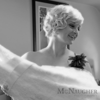 Bridesmaid Helps with the Wedding Gown